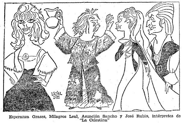 Elicia, Celestina, Melibea y Calixto