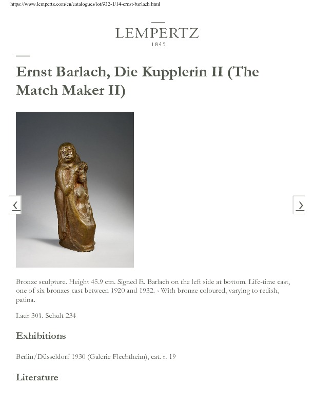 Die Kupplerin (I y II) (la alcahueta), estatuas de Barlach (1919-1924)