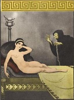 Alcahueta informando a Bilitis de un nuevo amante, de anónimo (1894)