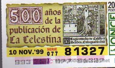Cupón de lotería de la ONCE, 500 años de la publicación de La Celestina (1999)