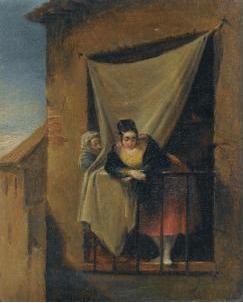 Mujer joven en un balcón, de Alenza y Nieto (Fecha desconocida)