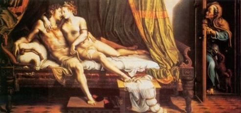 Dos amantes, de Romano (1523)