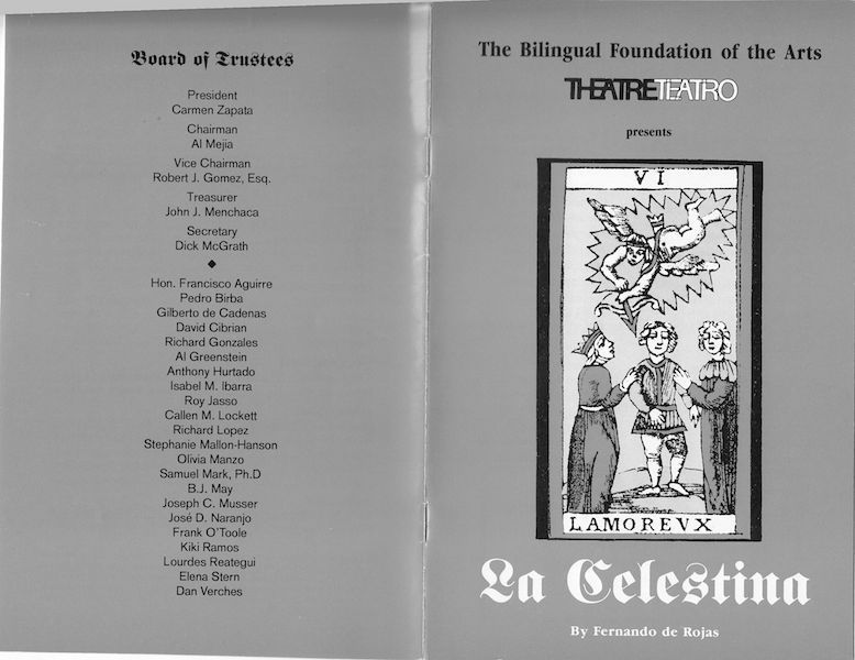 Representación del Bilingual Foundation of Art's Little Theatre, Los Angeles, 1992.