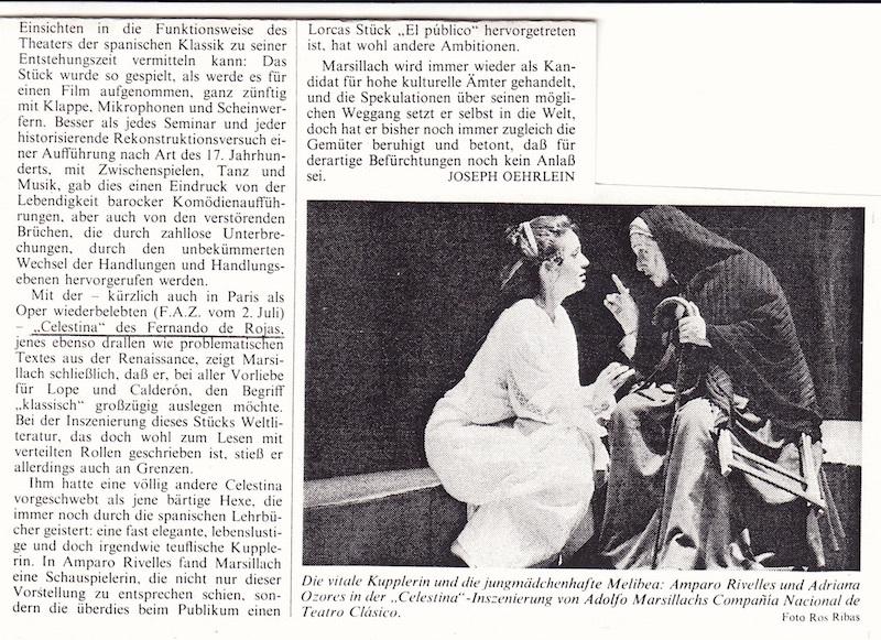 Representación de la Compañía nacional de teatro clásico, Madrid, 1988.