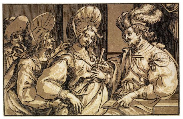 Die Kupplerin (la alcahueta), grabado de Businck (siglo XVII) basado en pintura de Lallemand.