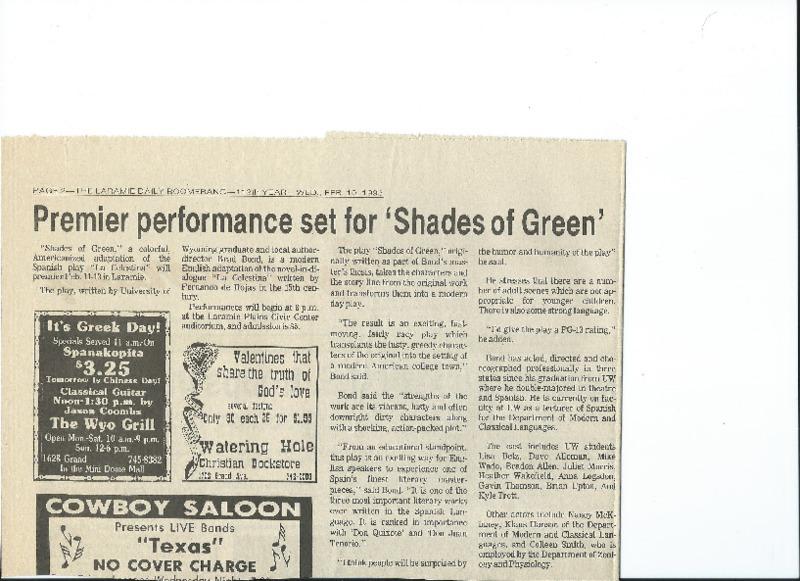 Shades of Green, Laramie, Wyoming (1993),