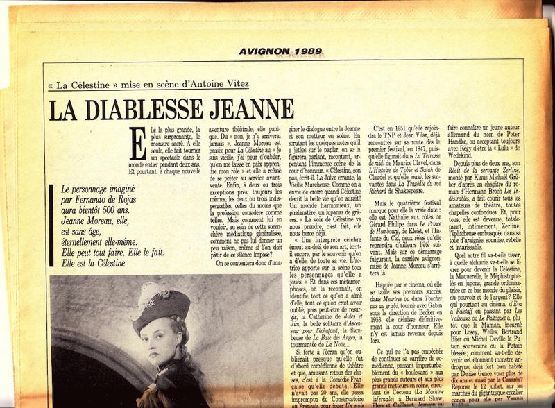 Representación para el Festival D'Avignon, 1989.