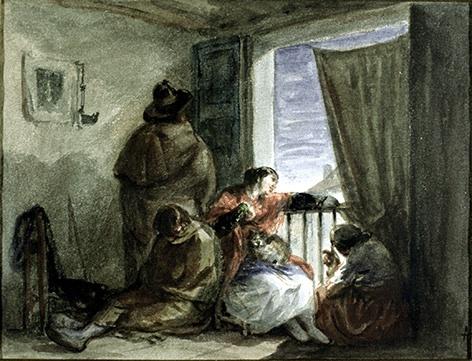 Esperando en el balcón, de Alenza (1835)