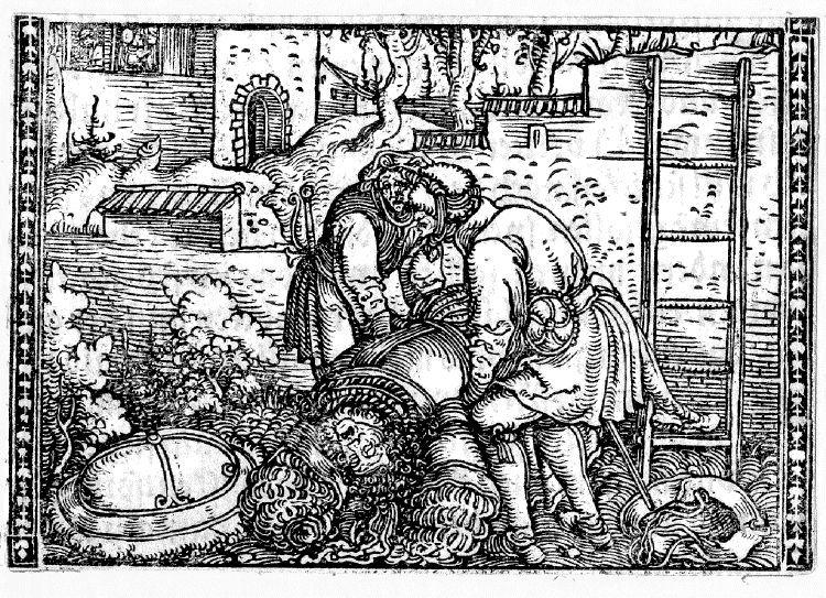 Grabado del acto XIX de la edición de Augsburg (1520)