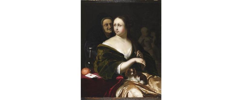 Mujer con perro faldero y criada, de Mieris (1680)