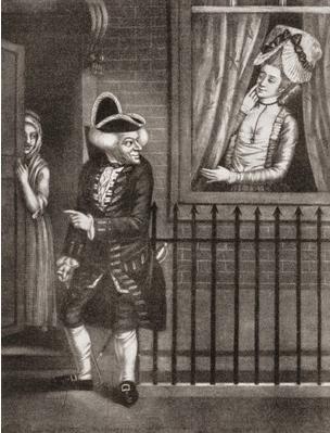 Una prostituta atractiva atrae un cliente desde la ventana, de Fuchs (Siglo XVIII)