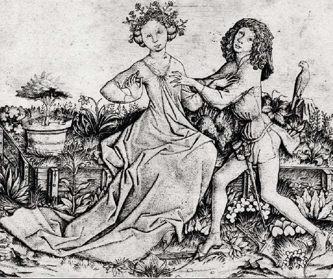 Escena de amantes en un jardín, de Master E. S. (1460 c.)