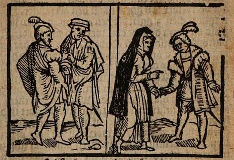 Ilustración primera del acto III de la edición de Amberes (1616)