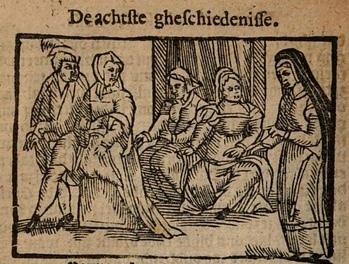 Ilustración del acto VIII de la edición de Amberes (1616)