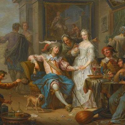 El hijo pródigo gastando su dinero en una vida desenfrenada, de Janneck (1732 c.)