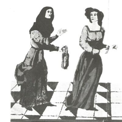 Tres imágenes de la Celestina en libro sobre grandes personajes literarios, de Navarro (1969)