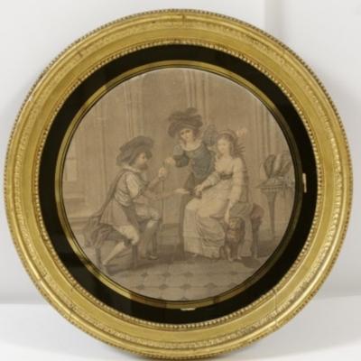 Plato pintado con escena galante y alcahueta, anónimo (1700 c.)