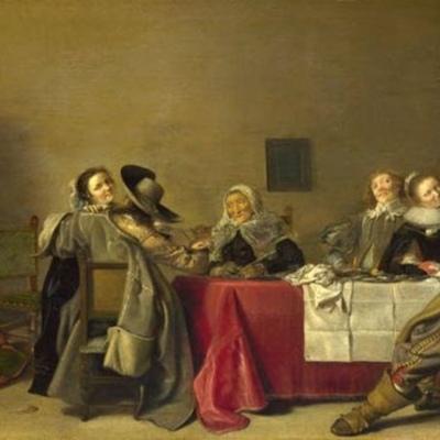 Escena de burdel (Una alegre compañía en una mesa), de Pot (1630 c.)
