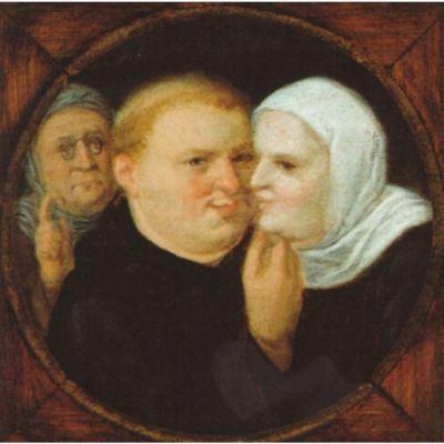 Monje con monja y alcahueta o Martín Lutero con su consorte Catalina de Bora, de seguidor de Brughel el joven (1600 c.)