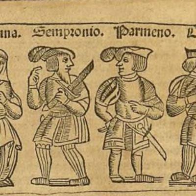 Ilustración del acto V de la edición de Zaragoza, 1545