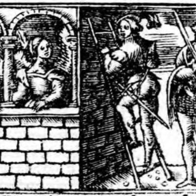 Ilustración primera del acto XIX de la edición de Zaragoza (1545)