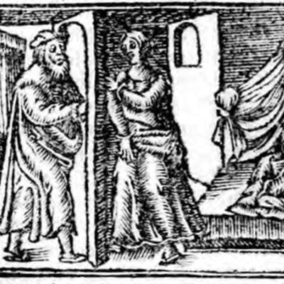 Ilustración primera del acto XX de la edición de Zaragoza (1545)