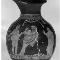 Dos hombres y una alcahueta, cerámica de Apulia (siglo IV antes de C.)