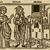 Grabado del acto XVI de la edición de Burgos (1499)