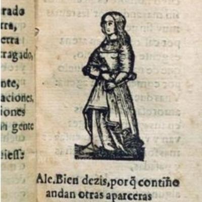 Ilustración de una alcahueta del libro Diálogo de las mujeres, de Castillejo (1600)