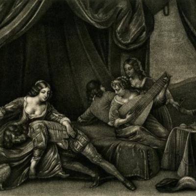 Escena de burdel, grabado de Blooteling (1675 c.)