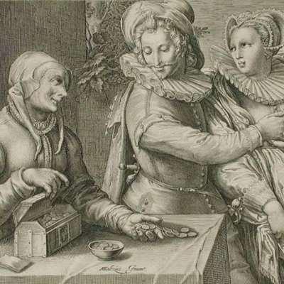 Un hombre elige una mujer joven, grabado de Matham (1600 c.)