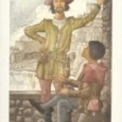 Ilustración de Sosia y Tristan de la edición Barcelona, 2000.