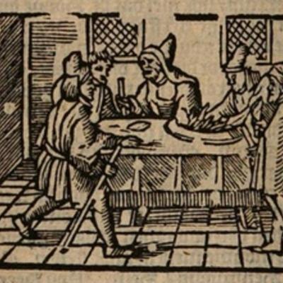 Ilustración del acto IX de la edición de Amberes (1616)