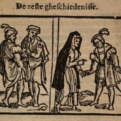 Ilustración del acto VI de la edición de Amberes (1616)