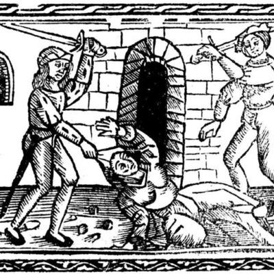 Ilustración segunda del acto XII de la edición de Valencia (1529)