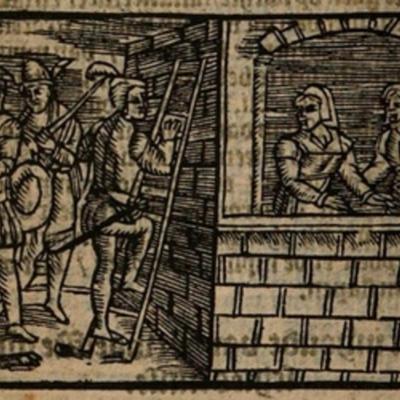 Ilustración primera del acto XII de la edición de Amberes (1616)