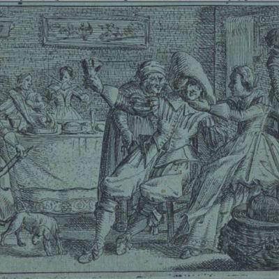 Un hijo prodigo de hoy, portada de libro de Hooft (1630)