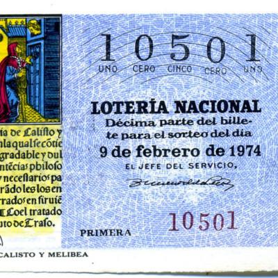Billete de Lotería Nacional de España (1974)