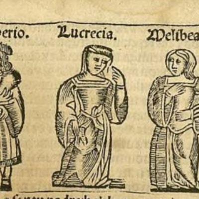 Primera ilustración del acto XX de la edición de Zaragoza, 1545