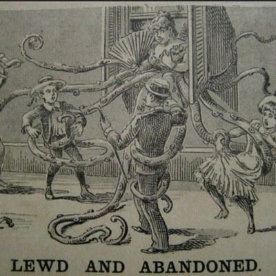 Caricatura de prensa de una propietaria de un burdel de Nueva Orleans (1890)