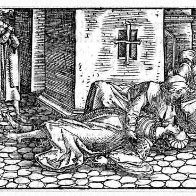 Grabado (segundo) del acto XXI de la edición de Augsburg (1520)