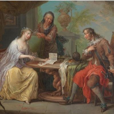 Una pareja,  escena galante en un parque, de Janneck (1730 c.)