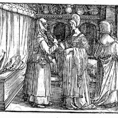 Grabado del acto IV de la edición de Augsburg (1520)