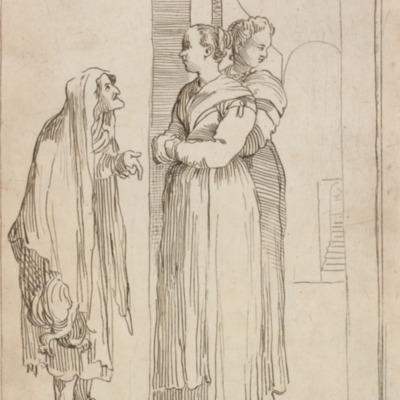 Grabado costumbrista Una valente ruffiana, de Carracci (1646)