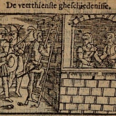 Ilustración del acto XIV de la edición de Amberes (1616)