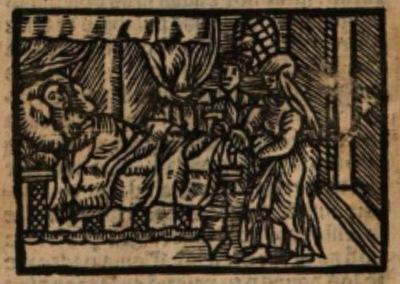 Ilustración del acto XXII de la edición de Estella (1557)