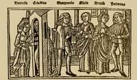 Grabado del acto IX de la edición de Burgos (1499)