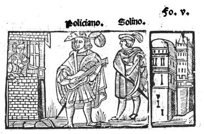 Ilustración de Tragedia Policiana, de Sebastián Fernández e ilustrador anónimo (1547)