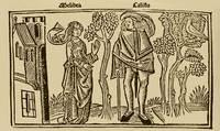 Grabado del acto I y portada de la edición de Burgos (1499)