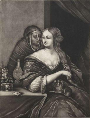 Mujer joven con una alcahueta, de Schenk (1690 c.)